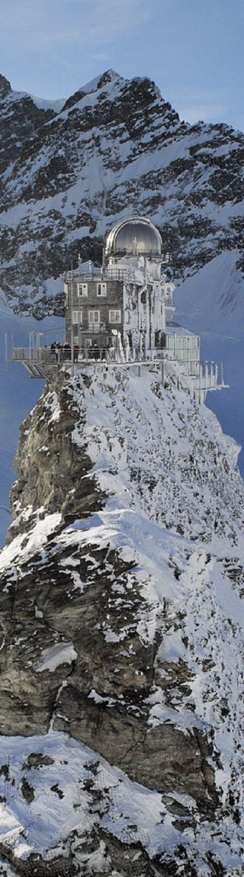 The Sphinx Observatory, one of the highest astronomical observatories in the world, provides an additional viewing platform at a height of 3,571 meters or 11,716 feet. Seen from Jungfraujoch Top of Europe building. Switzerland. Photo Jungfrau.ch, posted to Pinterest by SouthStreetHQ