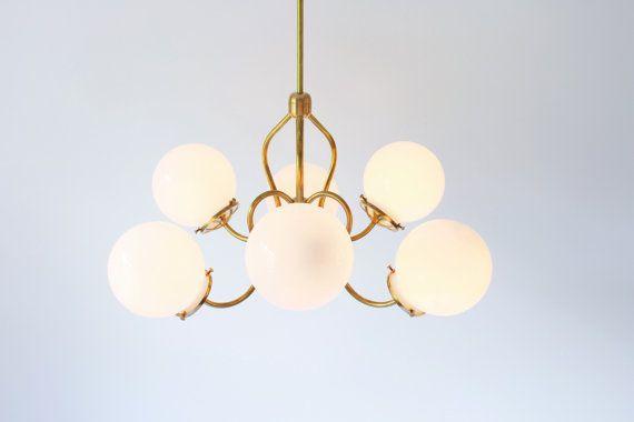 Brass Chandelier Lighting Fixture Brass Pendant Lamp 6 White