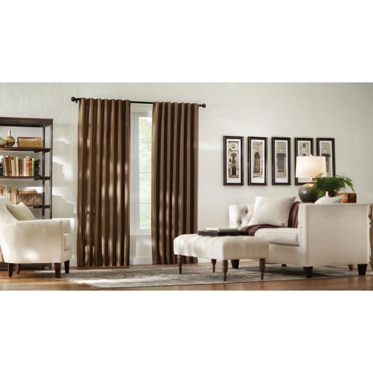 Home Decorators Collection Semi-Opaque Deep Brown Textured Thermal Back Tab Curtain