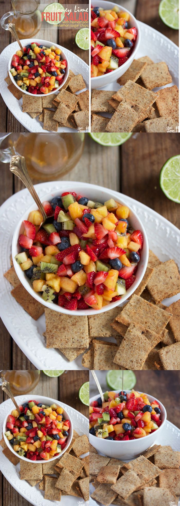 Honey Lime Fruit Salad with Homemade #paleo Cinnamon Sugar Chips! Perfect for entertaining.