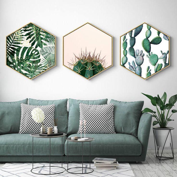 Startseite Hexagon Green Plant Malerei, Pflanze gerahmte Kunst, Weihnachtsgeschenk, Wohnzimmer Dekor, Geschenk für sie, Wohnkultur, Geschenk