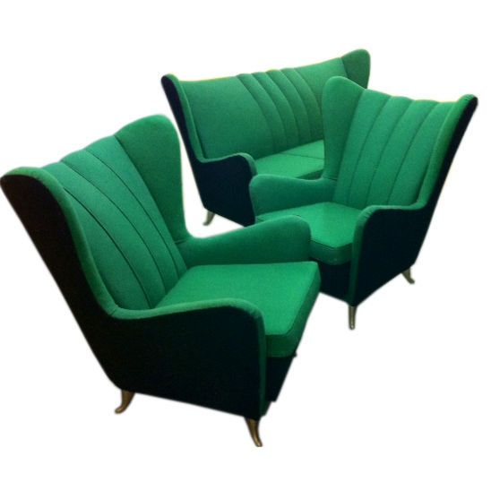 Sofa and Armchairs Designed by I.S.A  Italy  1950  pair of wingback armchairs and matching three seater sofa