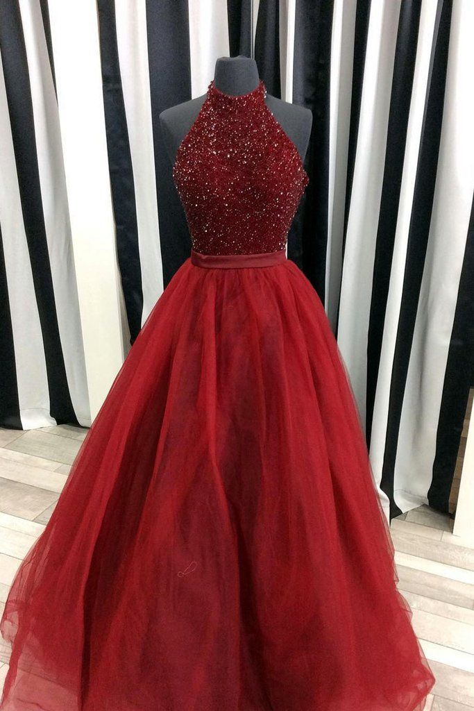 Crimson organza A-line sequins halter long prom dresses,evening dresses for teens