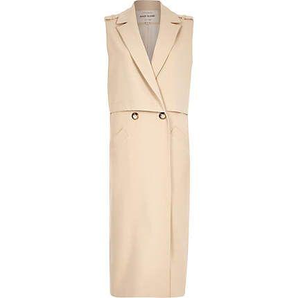 River Island Sleeveless Maxi Trench Coat in Cream - £75.00
