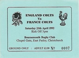 England #colts v #france youth 25 apr 1992 at bournemouth, #england rugby ticket,  View more on the LINK: 	http://www.zeppy.io/product/gb/2/300624897703/