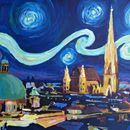 Starry Night Vienna At Night with St Stephan - Limited Edition Fine Art Print/Original Canvas Painting