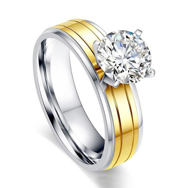 Wholesale Wedding Engagement Charm Fashion Round Rings for Women Gold Plated White CZ Lady Zircon Ring