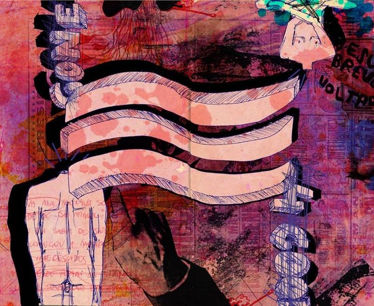 """""""O Mar"""", ilustração da Sabrina Barrios, inspirada no meu conto """"A Ilha"""" http://www.punkbrega.com.br/2013/02/a-ilha-um-conto-do-livro-cancoes-para-ninar-adultos-ilustrado-por-sabrina-barrios/"""
