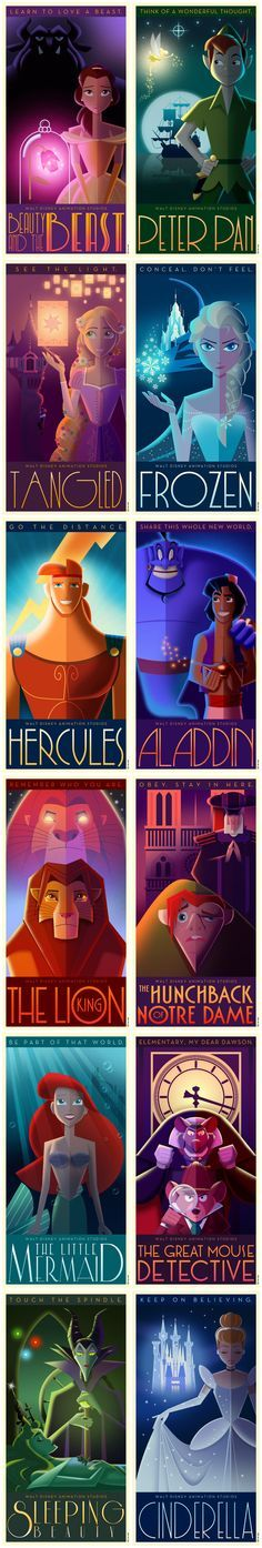 Disney posters for a variety of movies, not just the princess ones but great mouse detective too!