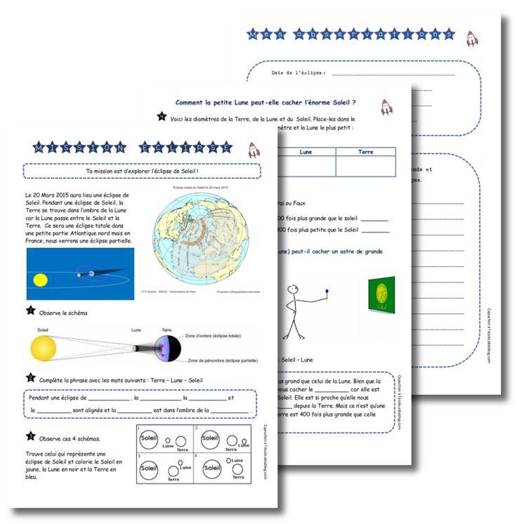 Comment la petite Lune peut-elle cacher l'énorme Soleil ?     Comprendre le phénomène des éclipses !     Après avoir recueilli les représentations des élèves  ( dessins, schémas, courte rédaction),  je propose  deux fiches d'activité  et une fiche pour recueillir les observations pendant l'éclipse !
