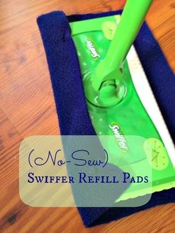 No sewing!! Yeah! Love this idea for a reusable swiffer cloth.
