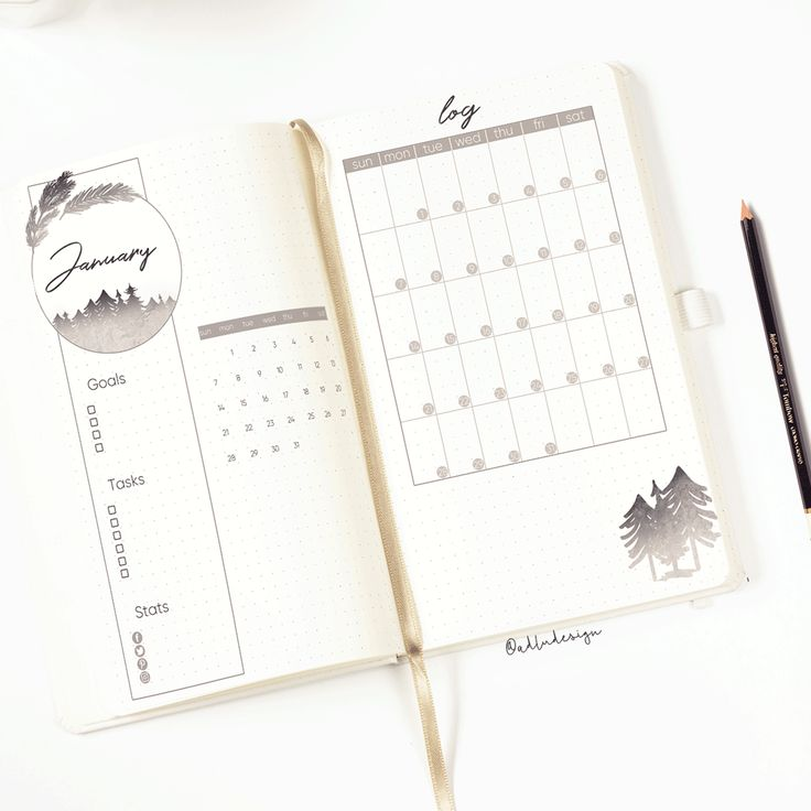 January Monthly Log Printable / Minimal Monthly Layout / Monthly Spread / Bullet Journal Insert / Goals & Tasks List / Social Stats