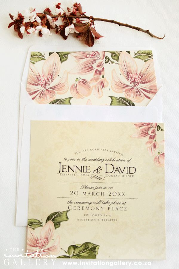 Invitation and envelope with vintage floral and lace design. (Colours and text can be customised).