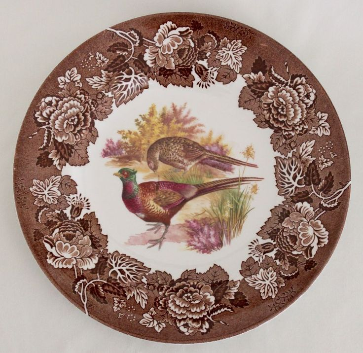 "VINTAGE Game Series Bird Pheasant WOOD & SONS Multi-Color Brown DINNER PLATE 10"" #WOODSONS"