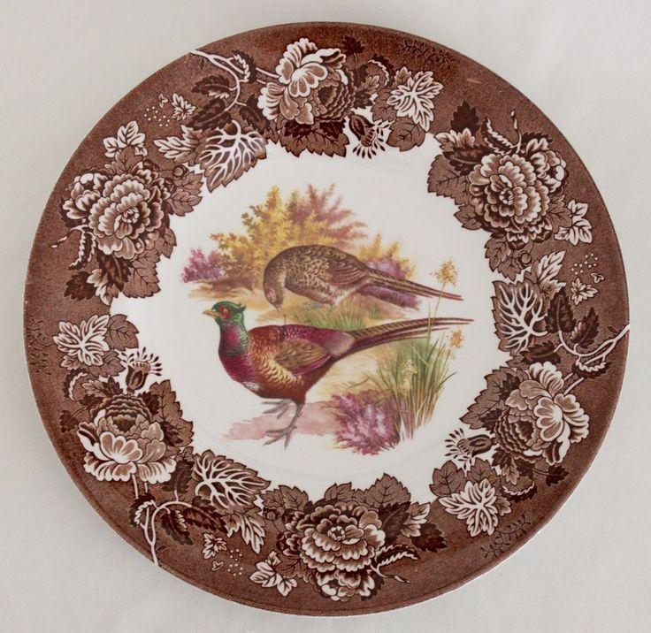 "VINTAGE Game Series Bird Pheasant WOOD & SONS Multi-Color Brown DINNER PLATE 10"" #WOODSONS"