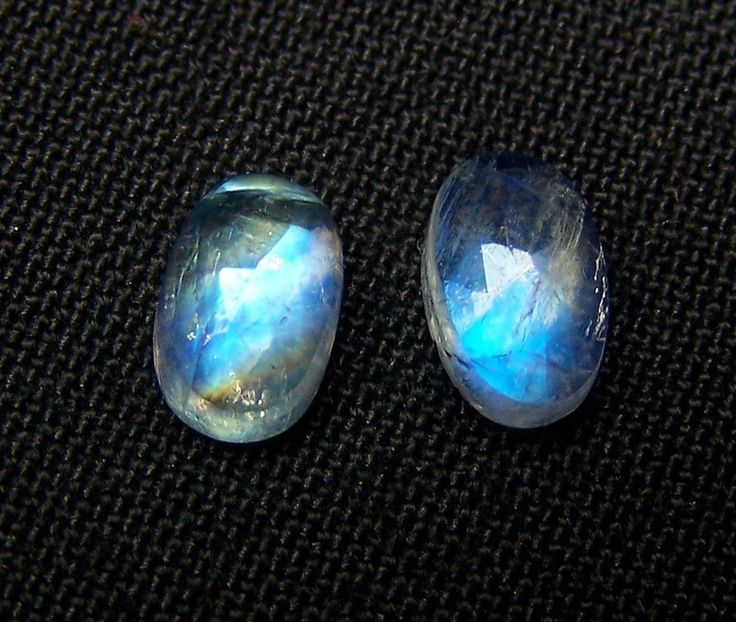 5 x 8 MM Blue Flashy White Rainbow Moonstone Rose Cut Oval Cabochon 1Pair AAA NR #DreamOfDesigners