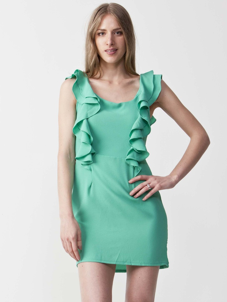 Sarah - Teal Summer Dress with round neckline.  Features ruffled details with sleeveless styling.  Regular fit cut and length. $66.00