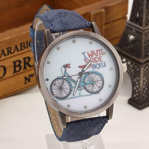 2016 Marca de Moda de Cuarzo Relojes Patrón de Bicicletas Reloj de la Historieta Niñas Niños regalos Reloj de Pulsera de Cuero Ocasional de Las Mujeres de La Vendimia en en www.ombia.co