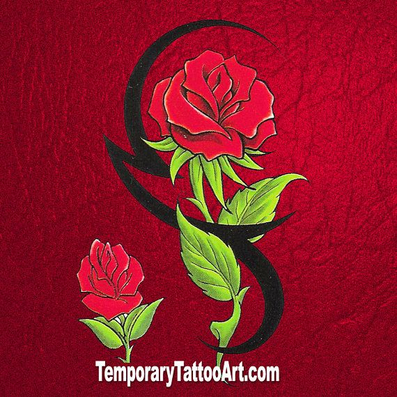 Rose Tribal Fake Tattoo