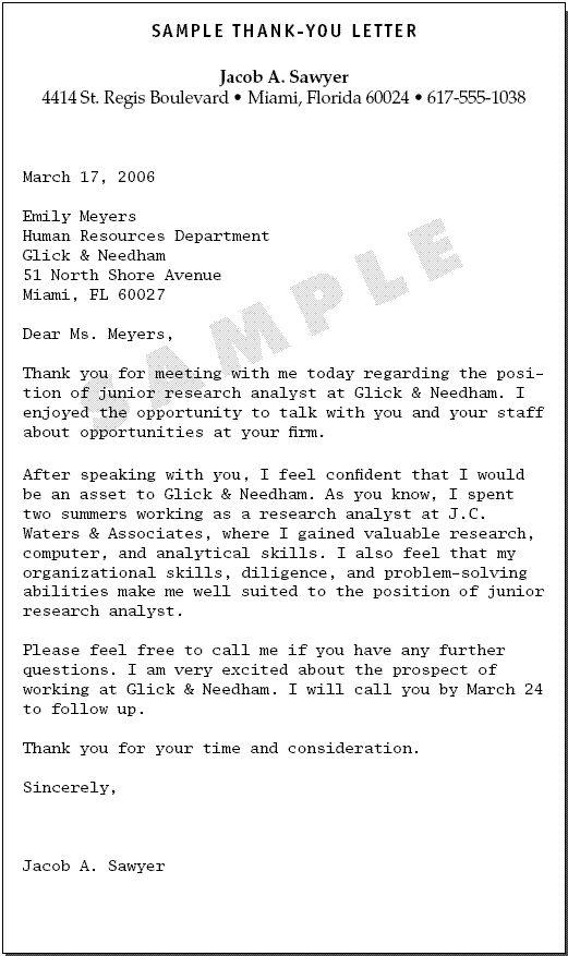 thank you letter career fair