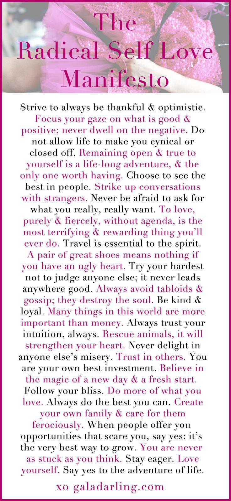 Radical Self Love Manifesto by Gala Darling