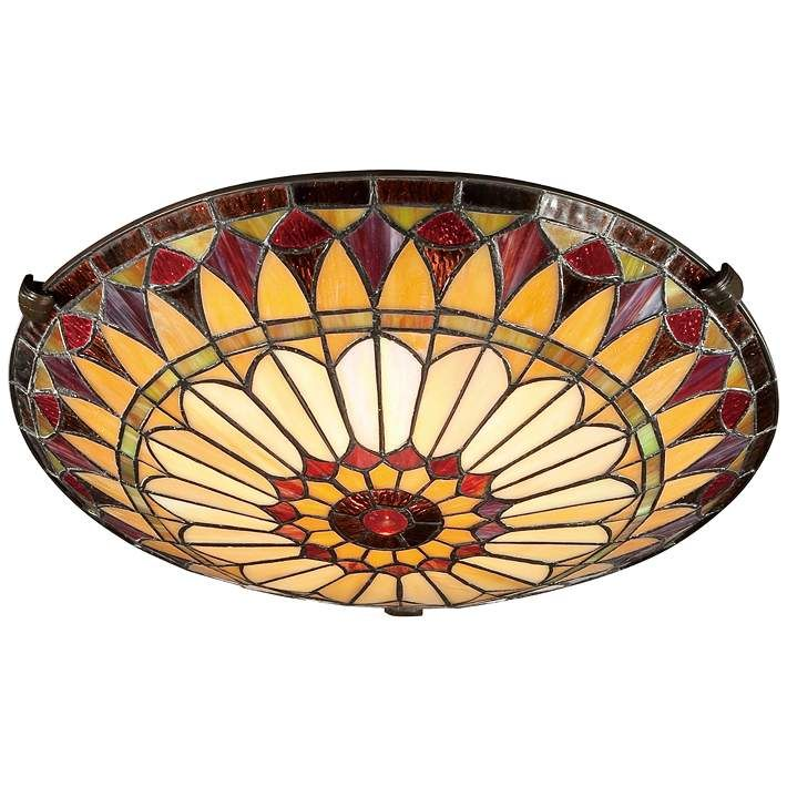 West End 17 Wide Tiffany Style Sunflower Ceiling Light 3t137 Lamps Plus Tiffany Ceiling Lights Art Glass Ceiling Lights Semi Flush Ceiling Lights