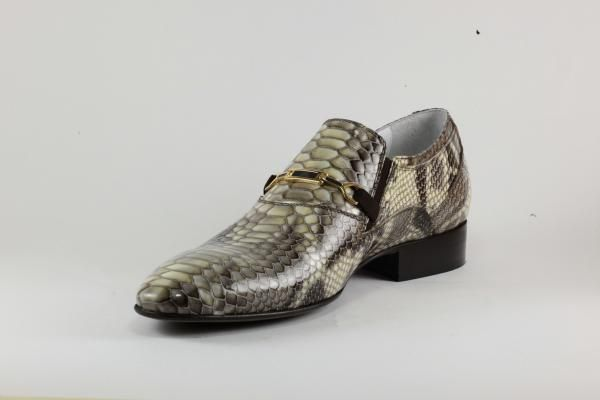 #SS2014 Rina's Couture #Men's #DressShoe. Beige Pitone/#Python #Leather with unique #monochrome geometric #patterns & an elegant buckle.  Our own line of #footwear, #madeinitaly, $480 or make an offer online to negotiate the price of your #coveted #shoe from our collection.