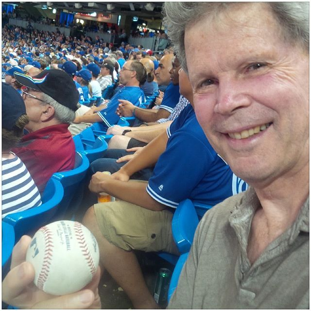 First I gave a ball to a little girl. Then my #brotherinlaw. Not to be  out matched did the same. All and all a good night for the kids sitting next to us. #cntower #skydome #bluejays.