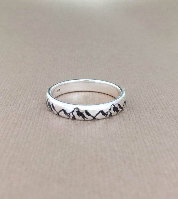 Mountain Ring /Custom Personalized ring, Engraved ring, sterling silver