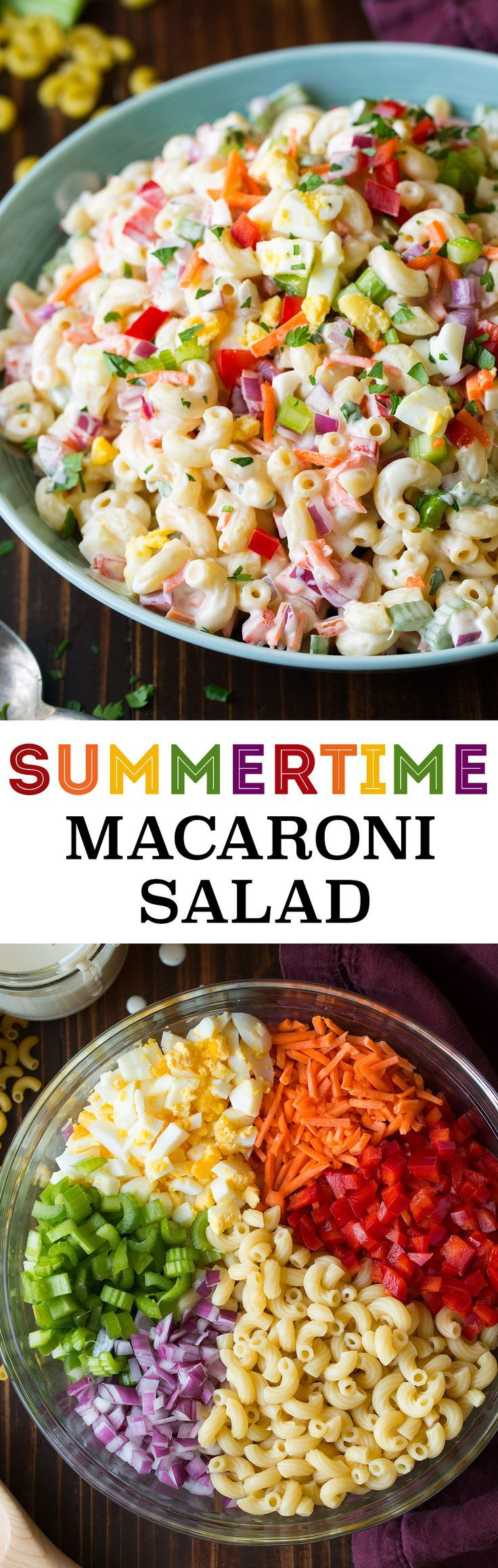Classic Macaroni Salad - Cooking Classy - maybe omit the onions and replace with peppercinis & cucumbers instead.
