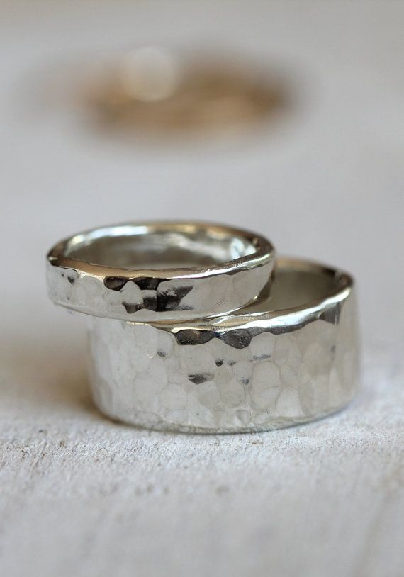 Wedding ring set sterling silver hammered rings on Etsy, $92.00