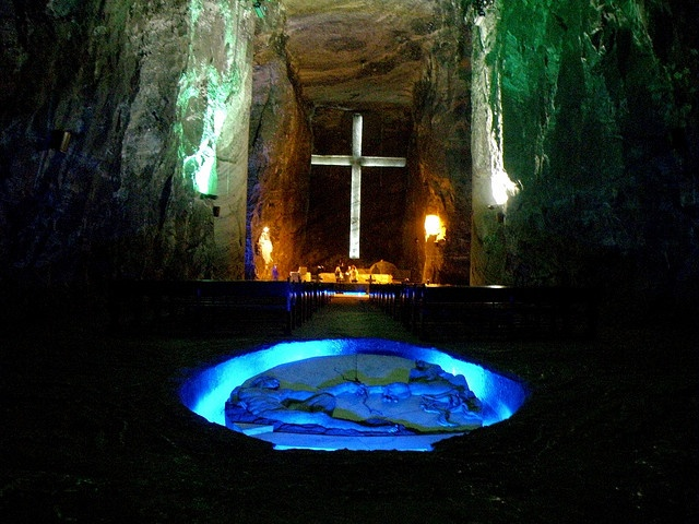 Deep underground in an old salt mine lies the Catedral de Sal (Cathedral of Salt). Zipaquira, Bogota, Colombia.