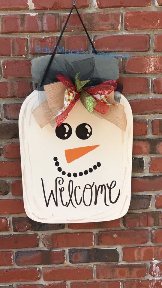$25 Wooden Snowman Door Hanger. Search Ady Mack's Creations on Facebook to order!