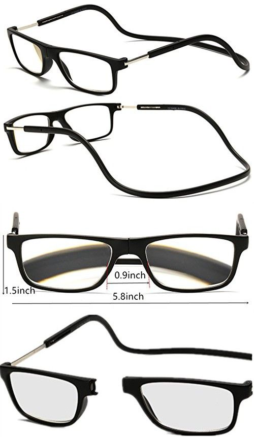 f764a12882 Adjustable Front Connect Reader Click Magnetic Reading Glasses Rectangle  Black 150