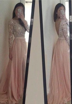 Blush Pink Prom Dresses, Long Sleeves Evening Dresses,Long Party Dress, Backless Prom Dresses, Lace Prom Dress, Prom Dress