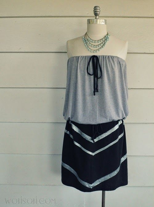 iLoveToCreate Blog: Strapless Chevron Dress DIY