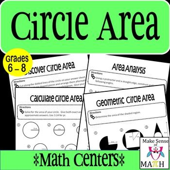 Students will use their higher-order thinking skills to discover and apply their knowledge of circle area. There are four math stations that focus on discovering the formula for the area of a circle,  calculating circle area using both exact and approximate answers,  analyzing the change of area as connected to the change of radius, and geometric circle areas.