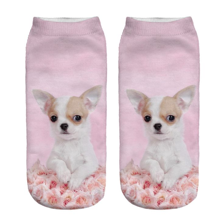 Gift -1pair 3D Pink Rose Dog Pug Printed sock Men New Unisex Cute Low Cut Ankle Sock Women Short Socks for Sale