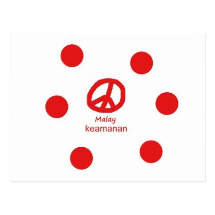 #Malay Language And Peace Symbol Design Postcard - #country gifts style diy gift ideas