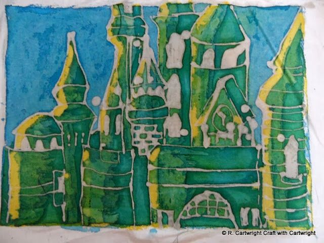 buildings batik by Craft with Ruth Cartwright