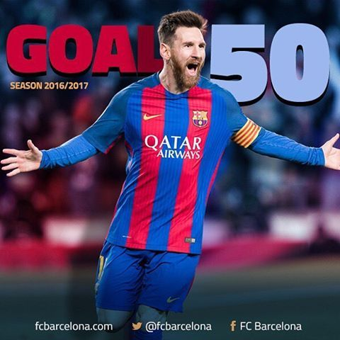 """364.8k Likes, 1,486 Comments - FC Barcelona (@fcbarcelona) on Instagram: """"👑⚽5️⃣0️⃣ @leomessi scores his 50th of the season overall! Gol 50 de la temporada para #Messi! Gol…"""""""