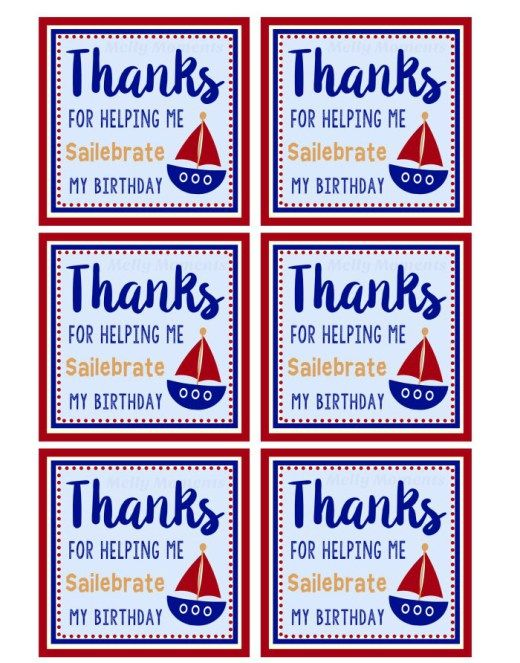 Nautical Themed Party Printables Thank You Cards Tags