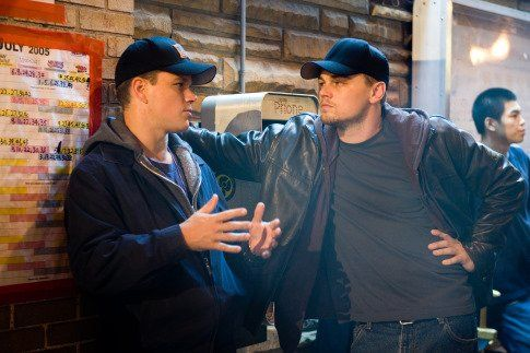 Leonardo DiCaprio and Matt Damon in The Departed (2006).  Most confusing movie ever.