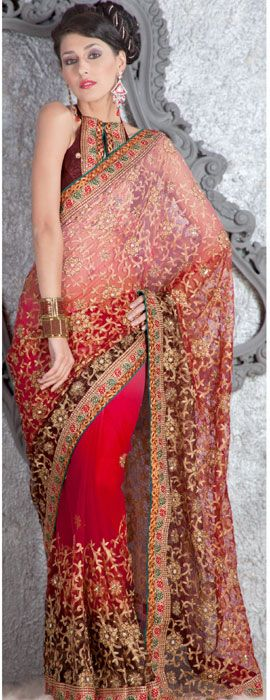 Buy Online Multicolor Net Saree with Blouse. Online shopping for Designer Net Sarees at affordable rate.