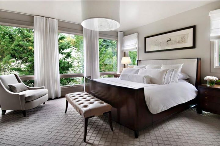 Neutral bedroom decor with minimalist sheers and curtains