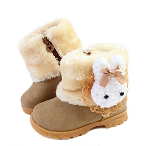 Baby Winter Boots | Femizee Baby Girls Infant Toddler Winter Fur Shoes Rabbit Snow Boots Booties,Brown,6 M US Toddler