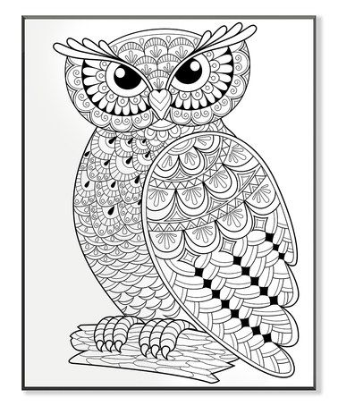 Wise Owl On A Log Coloring Wall Art Zulily Zulilyfinds