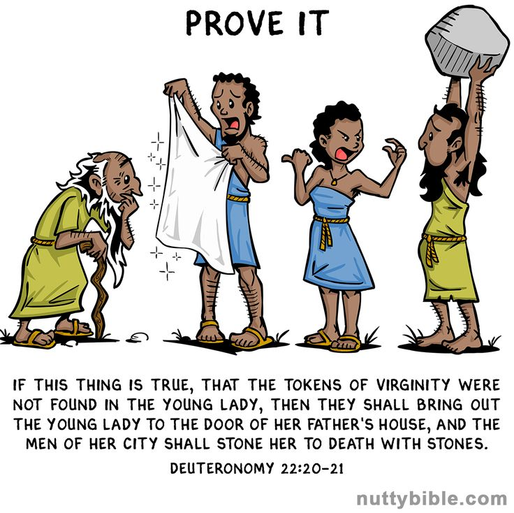 """""""If this thing is true, that the tokens of virginity were not found in the young lady, then they shall bring out the young lady to the door of her father's house, and the men of her city shall stone her to death with stones."""" Deuteronomy 22:20-21"""
