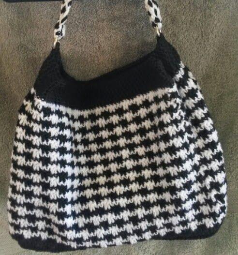 Braided bag strap for crochet houndstooth bag #crochet #crochetpatterns #macrame