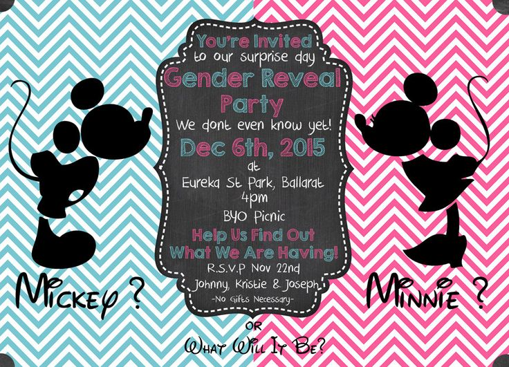 PERSONALIZED Gender Reveal Party Invitation  - Mickey & Minnie , Instant Digital Download, Baby Shower, Party Supplies by MemoriesbyKristieLee on Etsy
